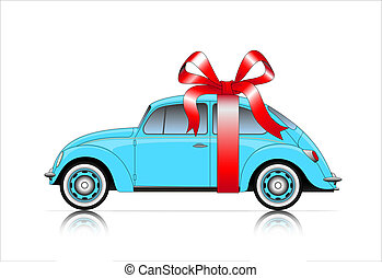 compact blue car with ribbon