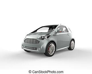 Compact Blue Grey Metallic Car
