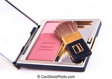 compact blush - blush with brush isolated