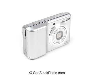 Compact Camera - A compact camera isolated against a white ...