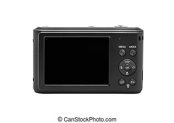 compact camera display on white