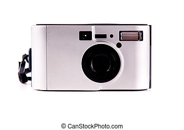Compact camera - modern compact film camera isolated on ...