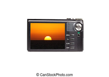 compact camera with picture of sunset
