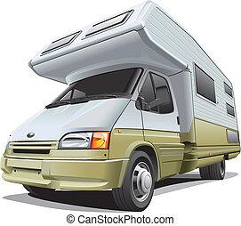 compact camper - Detail vector image of modern camper, ...