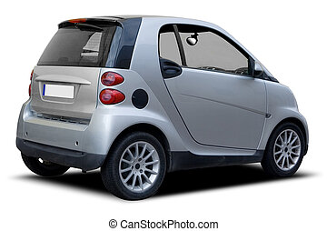 A Silver Compact Car Isolated on White