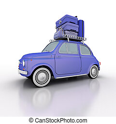 Compact car on holidays electric blue