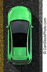 compact car on street top view
