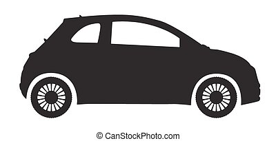 A compact car silhouette isolated on a white background