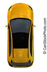 compact car top view - isolated