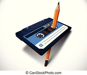 Compact cassette 80s style with music or data tape and pencil for manual rewind