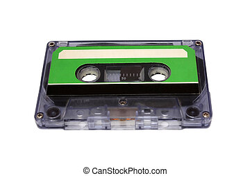 Compact Cassette isolated. Front perspective