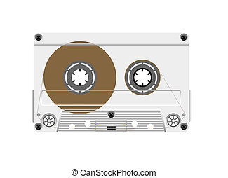 Compact cassette on a white background.