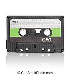 Compact Cassette - Vintage c-cassette audio tape on white ...