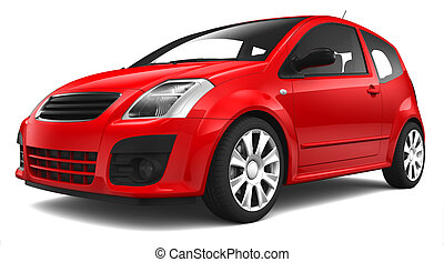 Compact city car on a white background