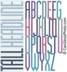 compact, condensed, coloré, affiche, l, police, majuscule, grand, rayé