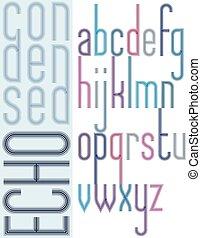 compact, condensed, lettres, affiche, minuscule, écho, arrière-plan., clair, police, lumière, rayé, blanc