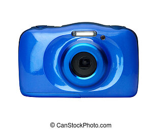 Compact digital camera front view isolated