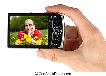 digital camera in a hand