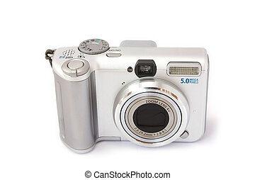 Compact digital camera isolated on white. Front view