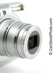Compact digital camera lens - Close up of a compact digital ...