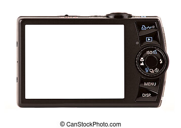 Compact digital camera rear view. Empty space for your picture or text.