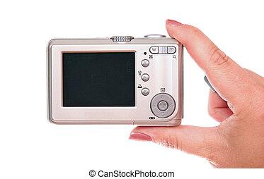 compact, digitale camera, vrouwlijk, afbeelding, boeiend, hand