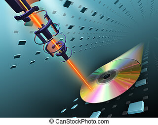 Laser beam writing data on a compact disc. Digital illustration.