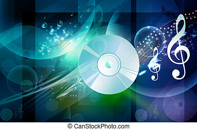 Compact disc - Illustration of a compact disc with music ...
