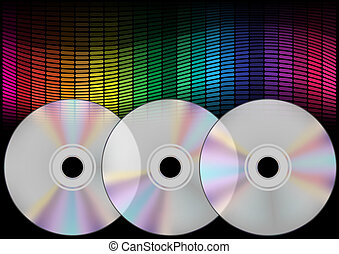 Compact Discs and Equalizer - Abstract Background - Compact...