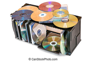 Compact discs in the storage container.