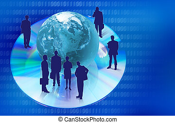 compact disk with globe and people silhouettes - Compact ...