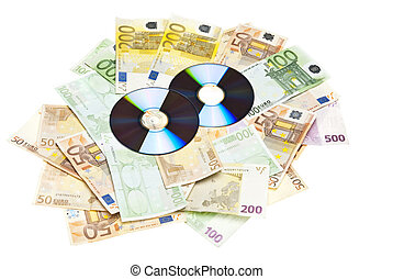 Compact Disks with euros below them,on white background.