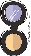 Compact face powder vector or color illustration - A face ...