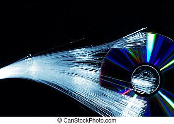 compact, fibres optiques, disque