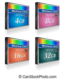 compact, flash, ensemble, cartes, mémoire