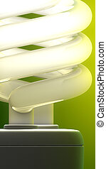 Compact fluorescent lamp close-up. Green background, ...