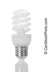 Compact fluorescent light bulb close up isolated on white.