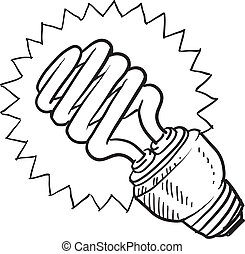 Compact fluorescent light bulb - Doodle style compact...