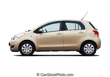 Compact hatchback - Beige compact hatchback isolated on...