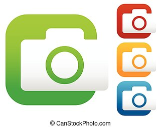 Compact - hobby photo camera icon in green, red, yellow,...