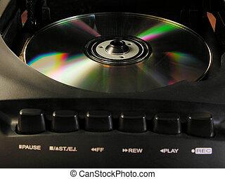 compact, joueur, disque