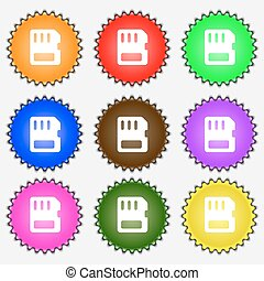 compact memory card  icon sign. A set of nine different colored labels. Vector