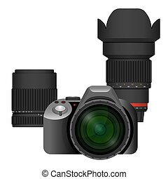 Compact modern professional camera with spare lenses set....