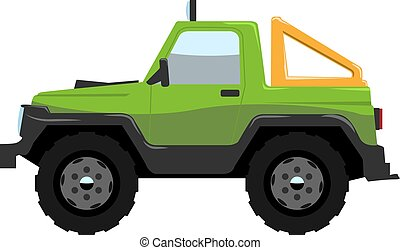 Compact Offroad SUV car side view. Vehicle concept Cartoon...