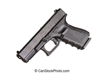 Modern compact pistol on white background