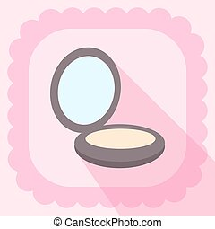 compact powder flat icon on pink wallpaper