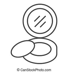 Compact powder thin line icon. Pocket mirror vector illustration isolated on white. Face powder outline style design, designed for web and app. Eps 10.