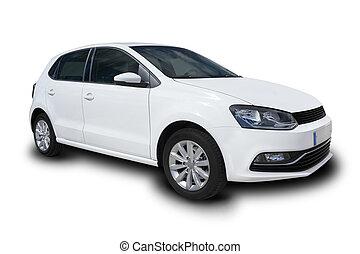compact, quatre, blanc, porte, voiture