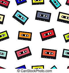 compact, seamless, cassette, achtergrond, cassette, audio
