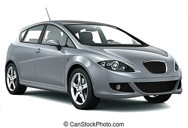 Compact silver car on a white background